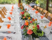 Dinner table with beautiful floral decor