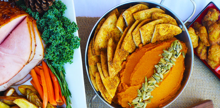 Maple-cinnamon whipped sweet potatoes holiday party food