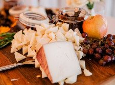 platter of cheeses, grapes wedding
